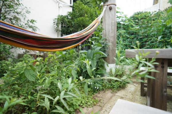ガーデンにはハンモックも。晴れた日はここで、ユラユラ揺れて。