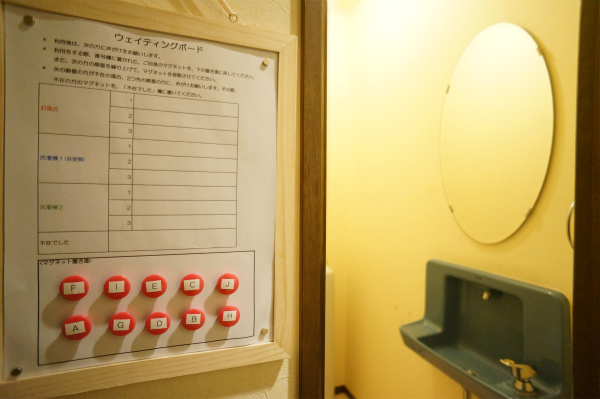 設備を使い終わった人は、この表を確認して次に使いたい人を呼びに行くシステム