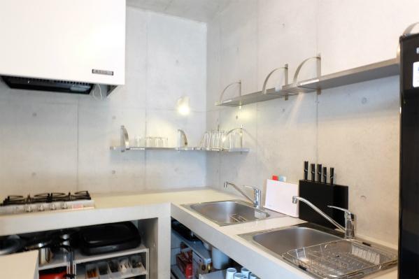 キッチンの壁もコンクリート造でかっこいい。シンクは2つ。