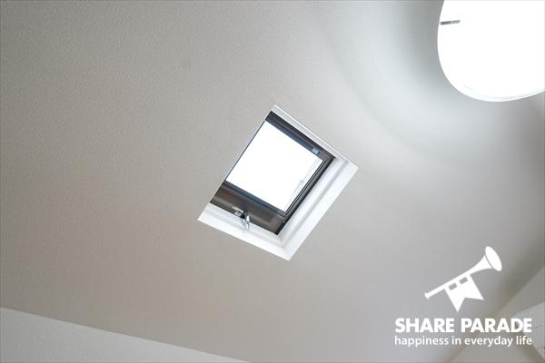 天井から暖かい光が差し込みます。