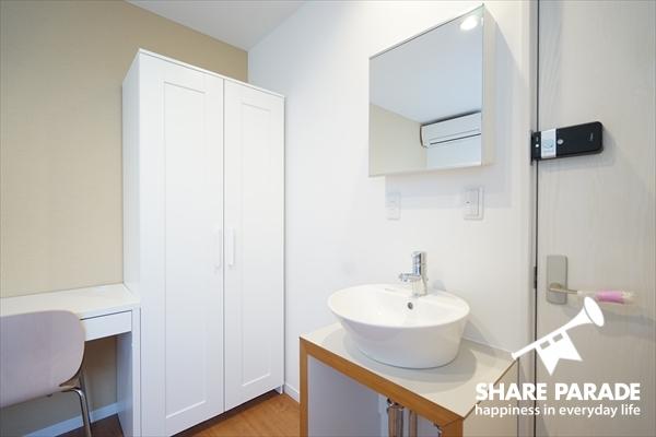 全お部屋に洗面が標準完備。