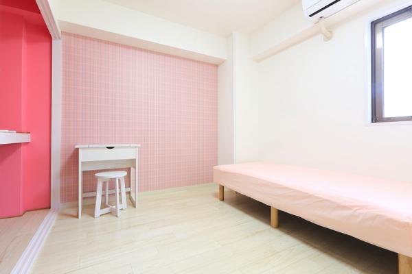 ピンクがかわいいお部屋。
