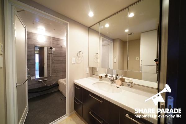 洗面台。広くて使いやすいです。