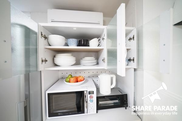 家電、食器、キッチン用品などが揃っています。
