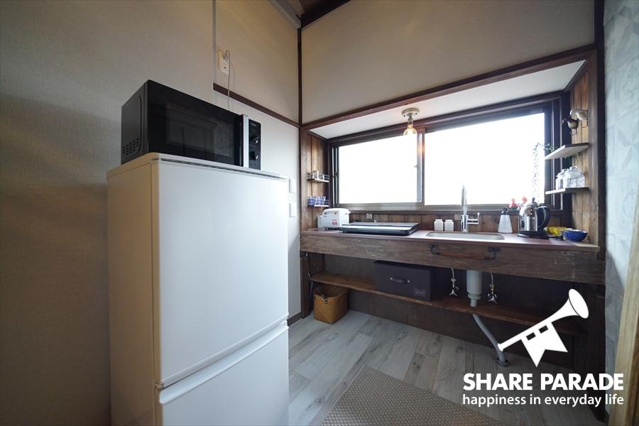 冷蔵庫と電子レンジも2Fにあります。