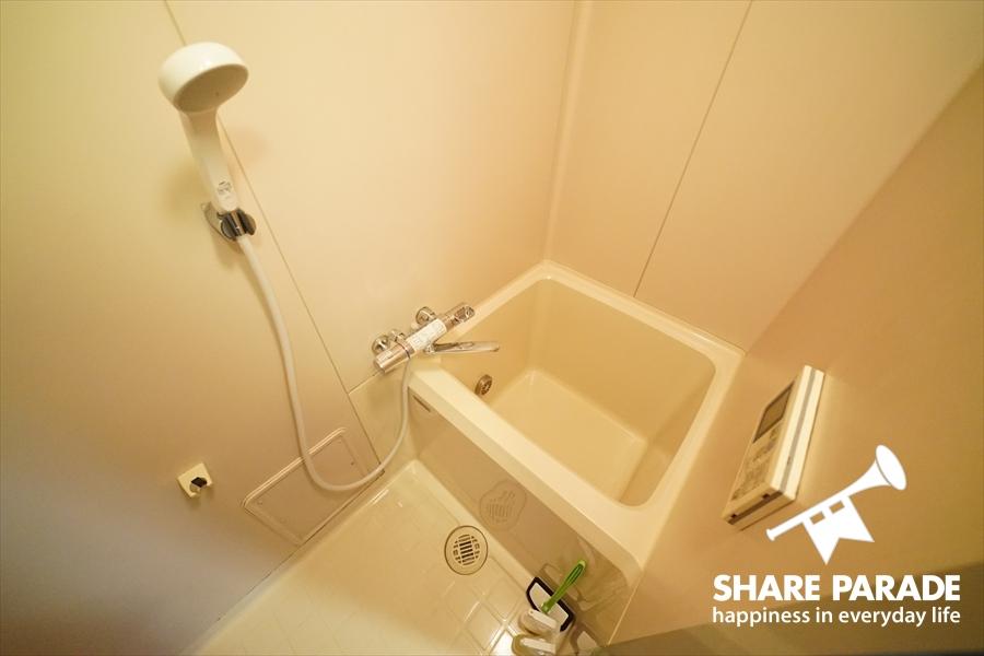 コンパクトな浴槽があるシャワー。