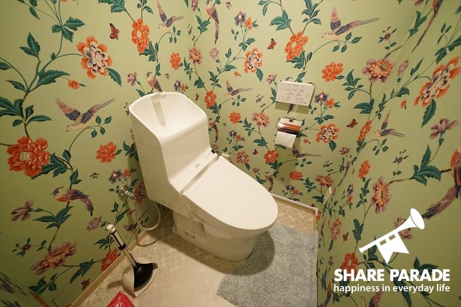 花柄のトイレ。
